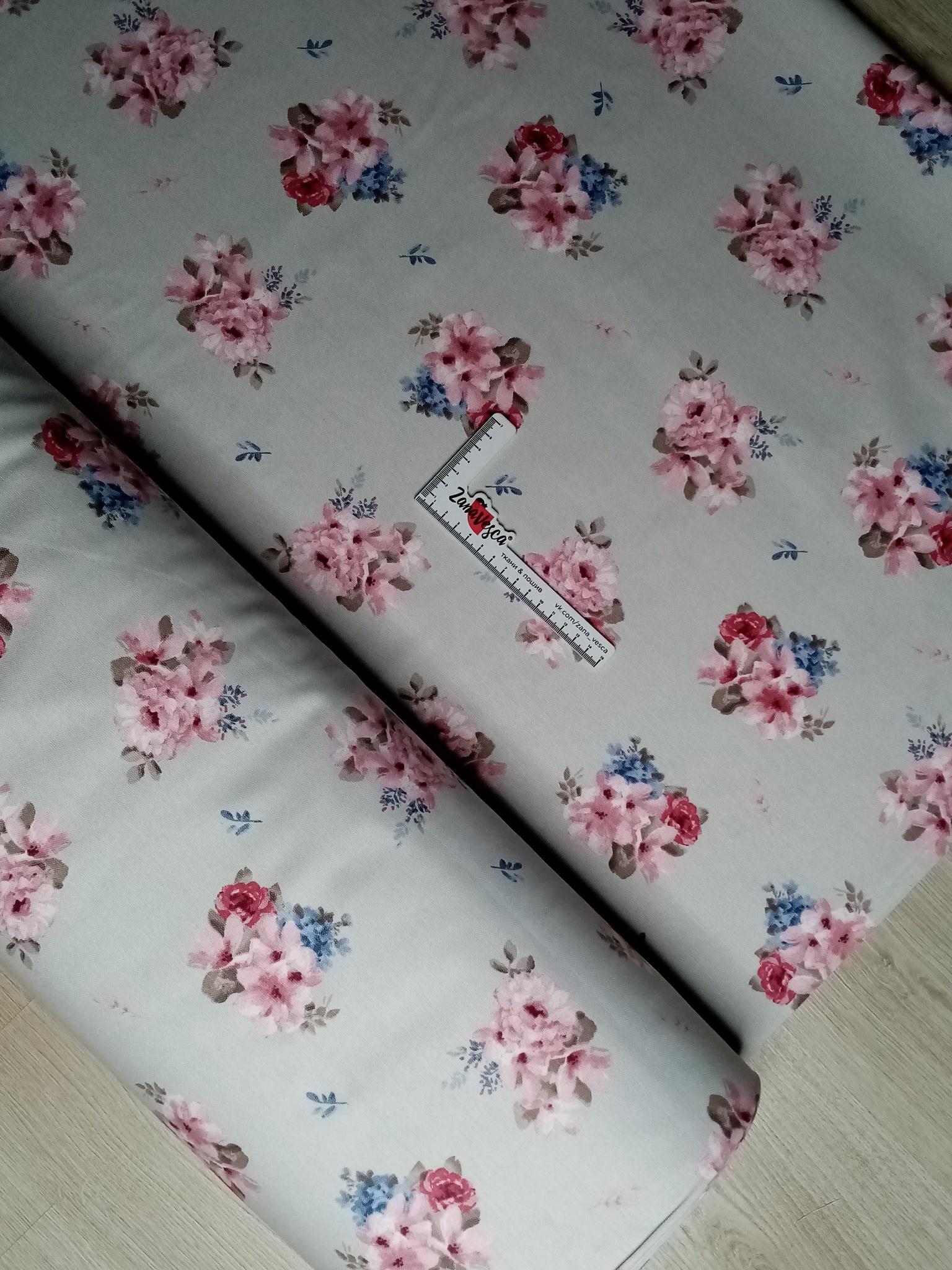 Ткань duck с тефлоновой пропиткой Розовые бутоньерки