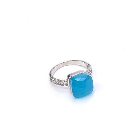 33353 - Кольцо из серебра Caramel с кварцем  цвета морской волны