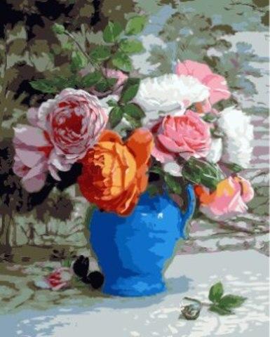Картина раскраска по номерам 40x50 Пионы в синей вазе (арт. ТС3346)