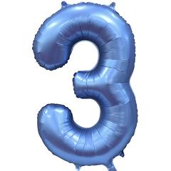 К Цифра, 3, Синий, Сатин, 34''/86 см, в упаковке 1 шт.