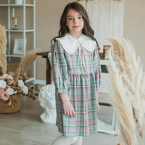Check flannel dress for teens - Pistachio