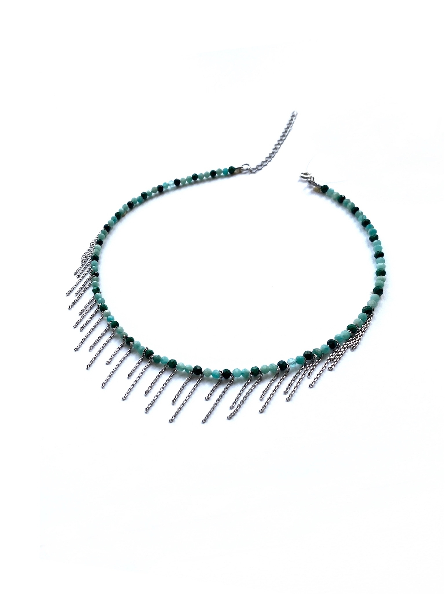 Серебряное колье-чокер «Эйва» с амазонитом и малахитом