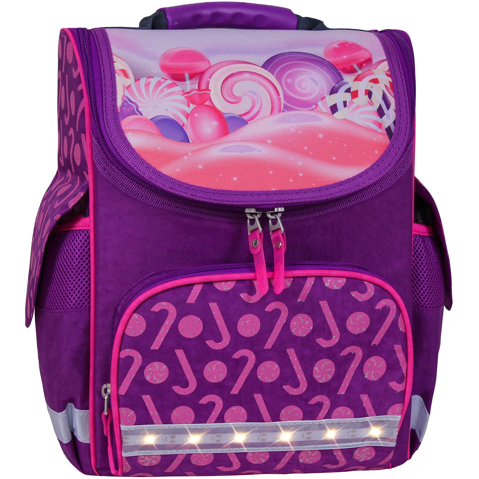 Школьные рюкзаки Рюкзак школьный каркасный с фонариками Bagland Успех 12 л. фиолетовый 409 (00551703) IMG_7148_блеск__409_.jpg