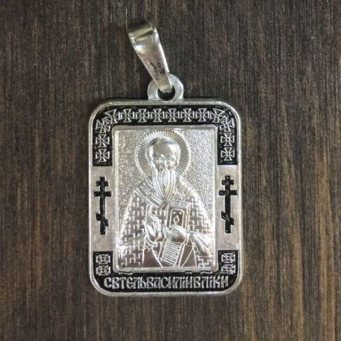 Нательная именная икона святой Василий с серебрением кулон с молитвой