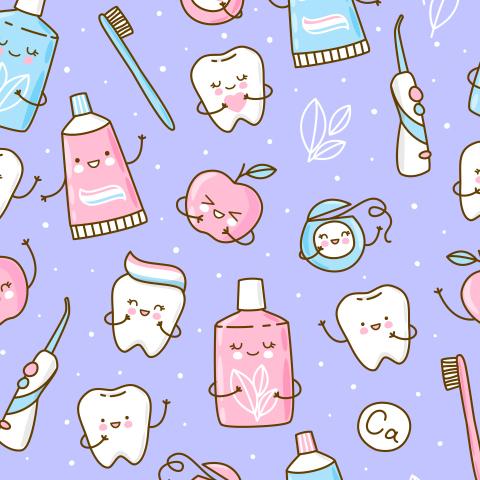 Чистим зубки. Фиолетовый фон