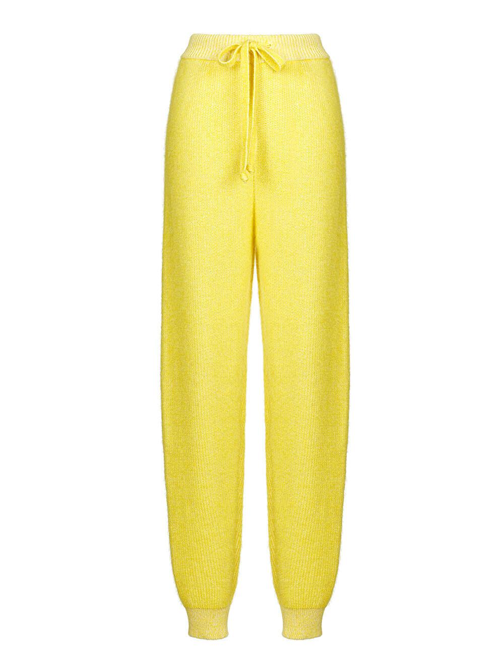 Женские брюки желтого цвета из мохера и кашемира - фото 1