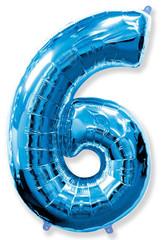 Воздушный шар (40''/102 см) Цифра, 6, Синий, 1 шт.