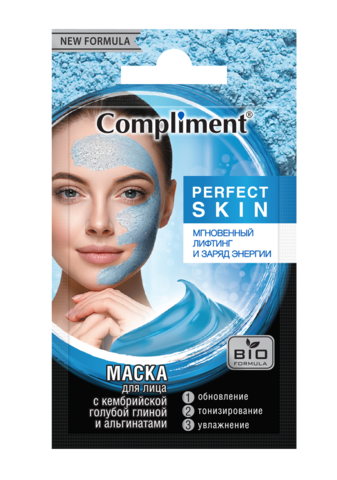 Compliment Саше PERFECT SKIN Маска для лица с Кембрийской голубой глиной и альгинатами