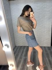 джинсовая юбка с пуговицами спереди оптом