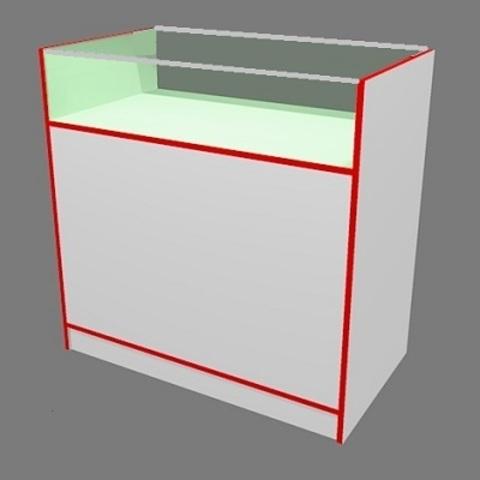 Прилавок ПП-1 (1000мм) ЛДСП/стекло, кромка  красная