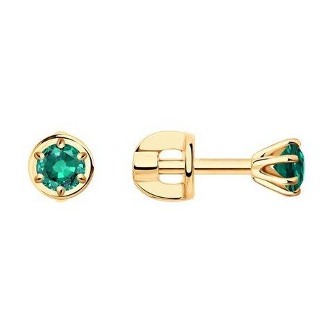 3020514 - Серьги-гвоздики из золота с изумрудами