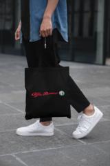 Мужская сумка-шоппер с принтом Альфа Ромео (Alfa Romeo) черная 002