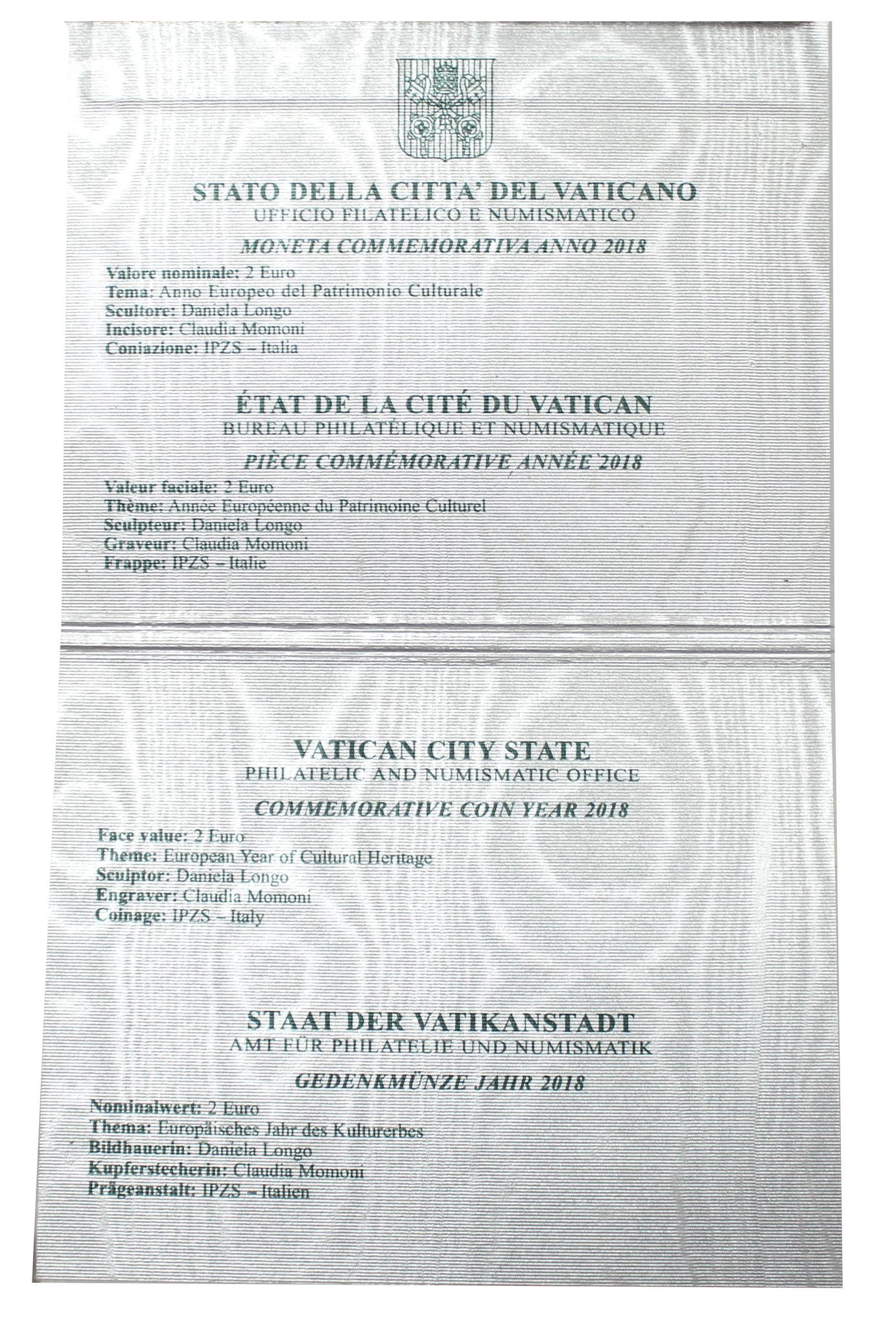 2 евро 2018 Ватикан - Культурное наследие (в буклете)