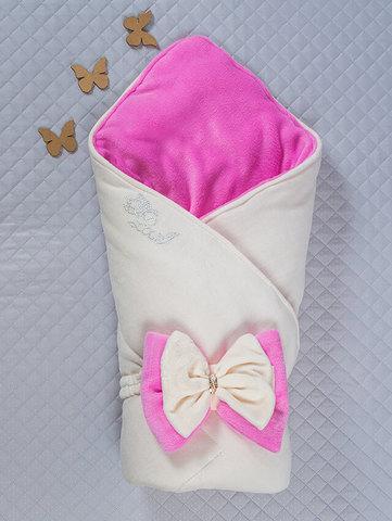 Зимний велюровый конверт одеяло Бантик (кремовый/розовый)