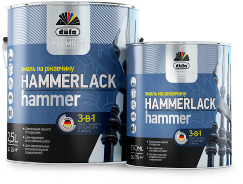 Dufa Premium HAMMERLACK/Дюфа Премиум Хаммерлак эмаль на ржавчину 3 в 1 молотковая