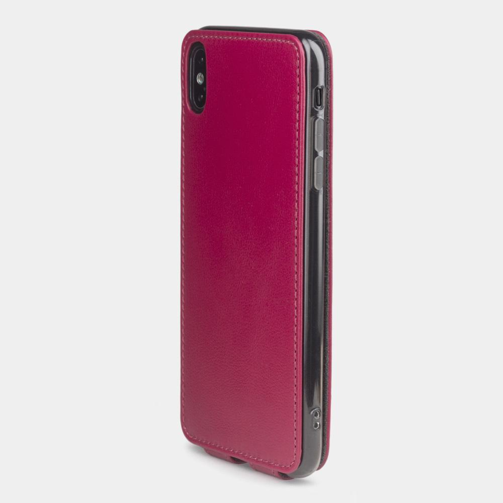 Чехол для iPhone XS Max из натуральной кожи теленка, цвета малины