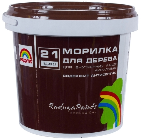 Морилка Радуга 21 для дерева акриловая, прозрачная, содержит антисептик для внутренних работ вд-ак 21 цвет махагон 1кг