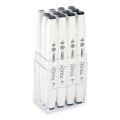 Touch Twin Brush набор маркеров для скетчинга 12 шт в кейсе - двусторонние спиртовые кисть/долото (теплые серые)