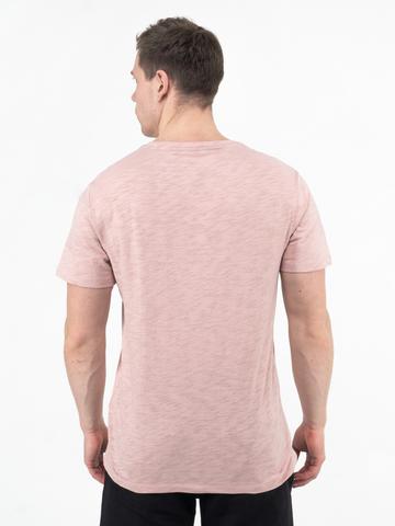 Мужская футболка «Великоросс» бело-лилового цвета круглый ворот