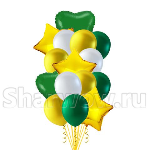 Букет из золотых и зеленых шаров