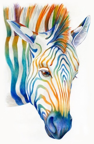 Алмазная Мозаика 30x40 Цветная зебра