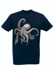 Футболка с принтом Море, Океан, Осьминог (Sea, ocean, octopus) темно-синяя 002