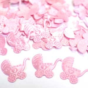 Конфетти атласное Коляска розовая 100шт