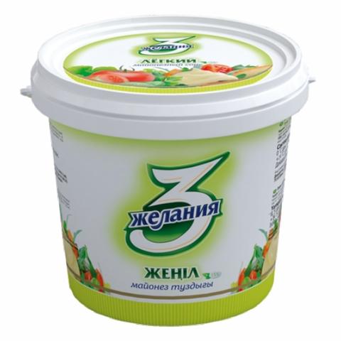 Майонез 3 ЖЕЛАНИЯ Легкий 15% 800 г ведро КАЗАХСТАН
