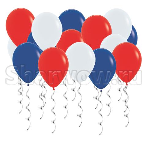 Воздушные шары под потолок Российский триколор - белый, синий, красный