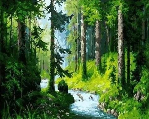 Алмазная Мозаика 40x50 Ручей в тихом лесу (арт. GA74065 )