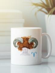 Кружка с рисунком Знаки Зодиака, Овен (Гороскоп, horoscope) белая 003
