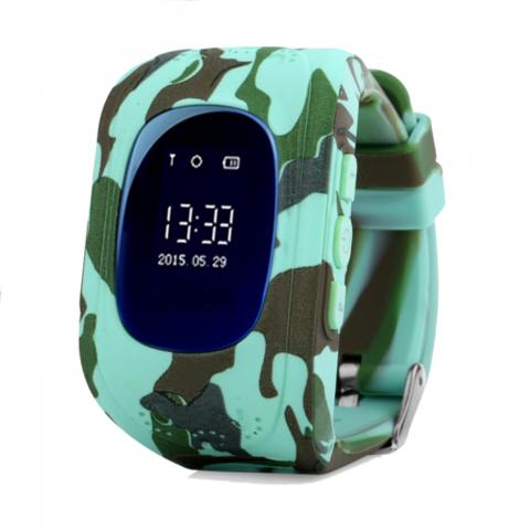 Детские часы телефон Smart Baby Watch Q50 с GPS цвет хаки