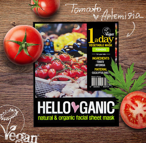 HelloGanic  Лифтинг-маска с экстрактами Томатов и Артемизии, One a day Vegetable mask1 шт