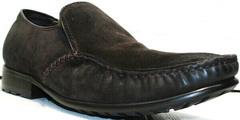 Удобные мокасины. Мужские зимние туфли на меху Welfare 555841 Dark Brown Nubuk & Fur.