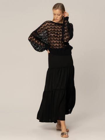 Женский джемпер черного цвета из мохера - фото 2