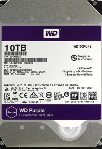 Жесткий диск WD Purple [WD100PURZ] 10 ТБ