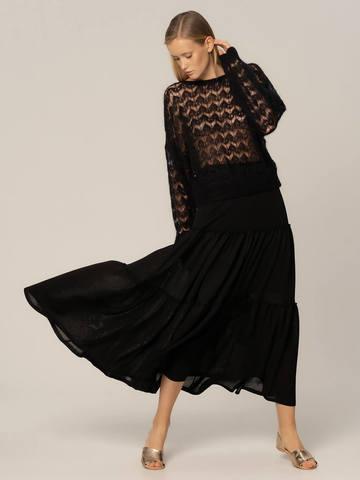 Женский джемпер черного цвета из мохера - фото 4