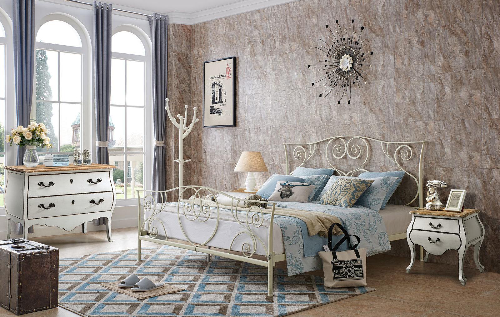 Кровать ESF TDF-0818 кремовая с тумбочками  FL-4016 в белом цвете и комодом  FL-5002
