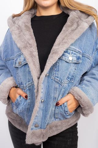 Джинсовая куртка женская с мехом и капюшоном Nadya
