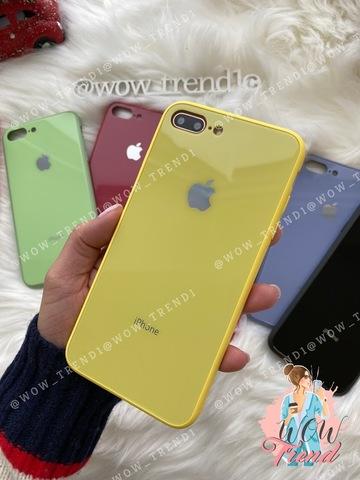 Чехол iPhone 7/8 Plus Glass Pastel color Logo /yellow/