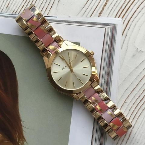 MK8021- Женские, наручные часы MK с комбинированным ремешком
