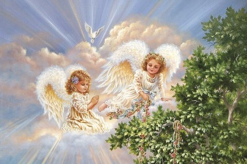 Алмазная Мозаика 30x40 Белокурые ангелочки у дерева (арт. TC3330 )