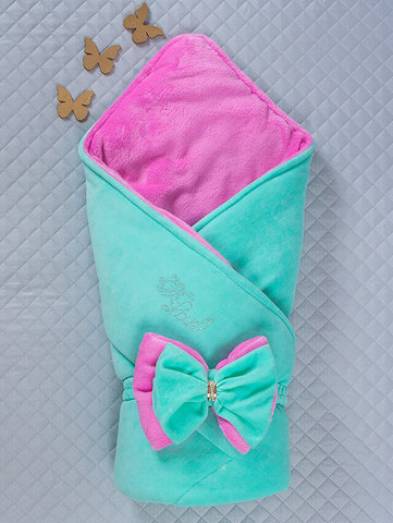 Зимний велюровый конверт одеяло Бантик (ментоловый/розовый)