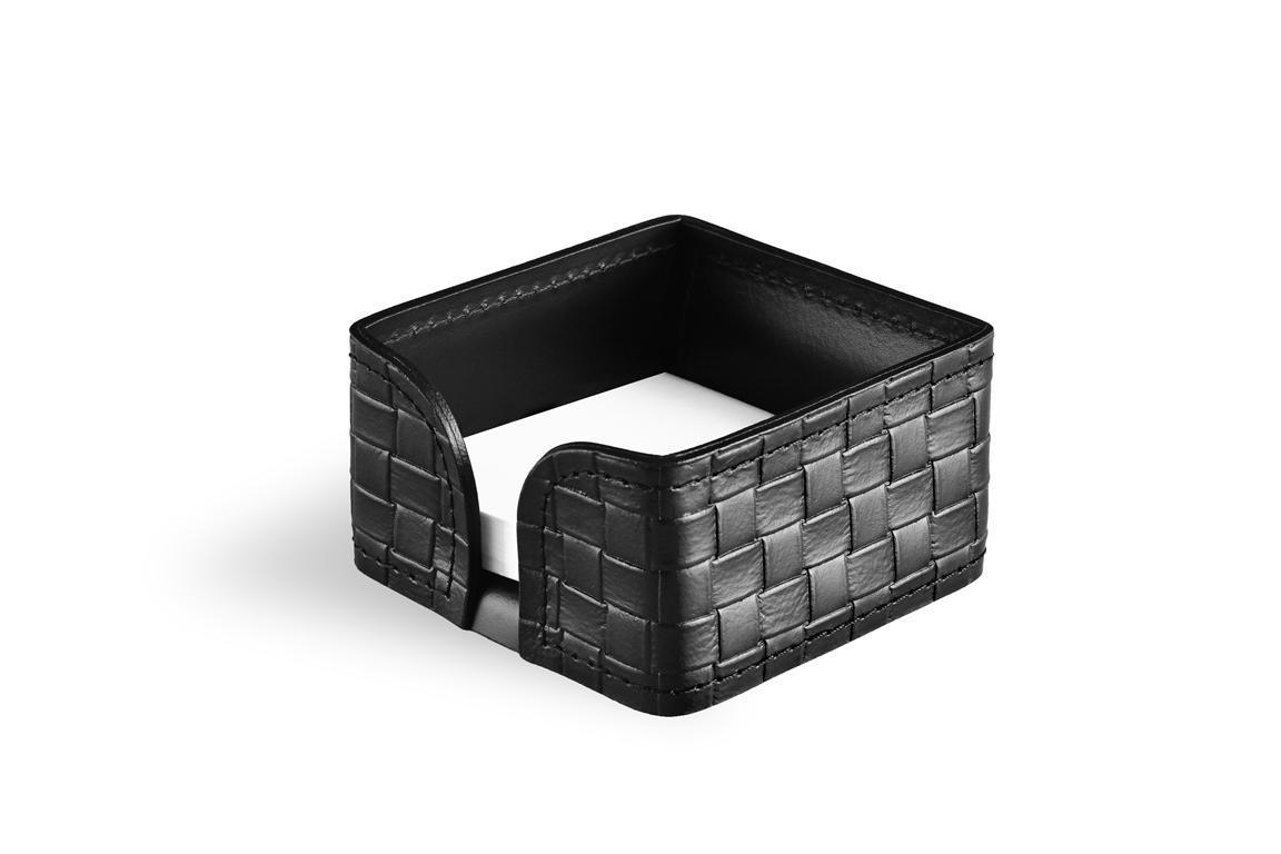 Лоток для блока бумаги BUVARDO БИЗНЕС из кожи цвет TRECCIA/ЧЕРНЫЙ