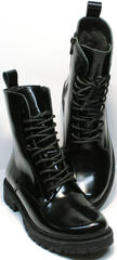 Зимние теплые ботинки ботинки с высоким берцем с молнией женские Ari Andano 740 All Black.