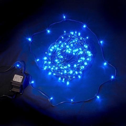 Клип лайт Синий, комплект с трансформатором, 30 метров, IP65, темный провод
