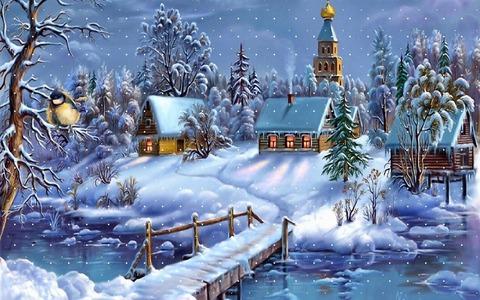 Алмазная Мозаика + Багет 30x40 Зимняя деревушка