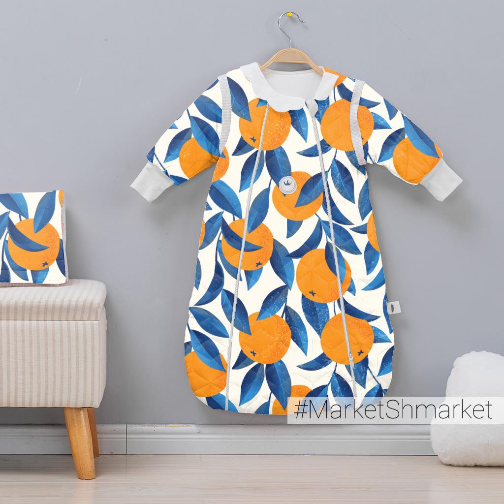 Апельсины с синими листьями