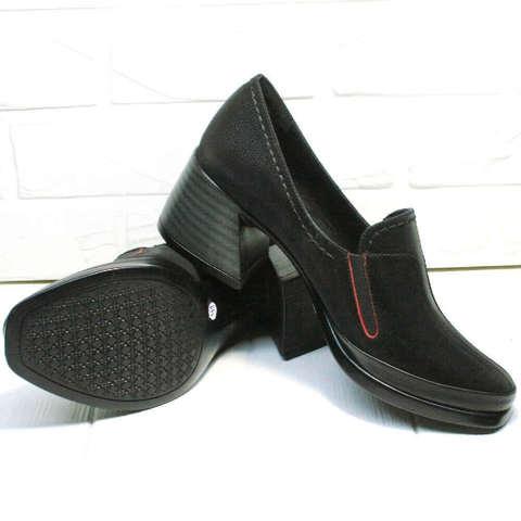 Кожаные туфли  на широком каблуке 6 см. Черные туфли женские осень весна H&G BEM-B.