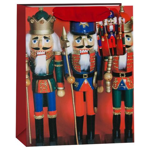 Пакет подарочный, Щелкунчики, Красный, с блестками, 23*18*10 см